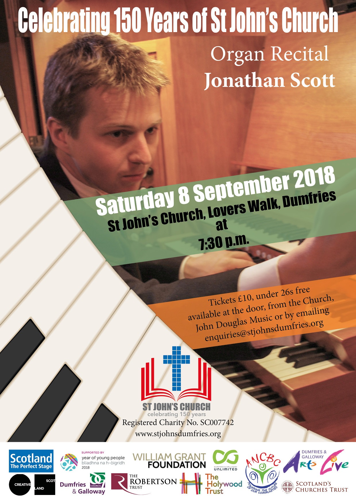 Organ Concert in St John's, 8th September at 7.30 pm