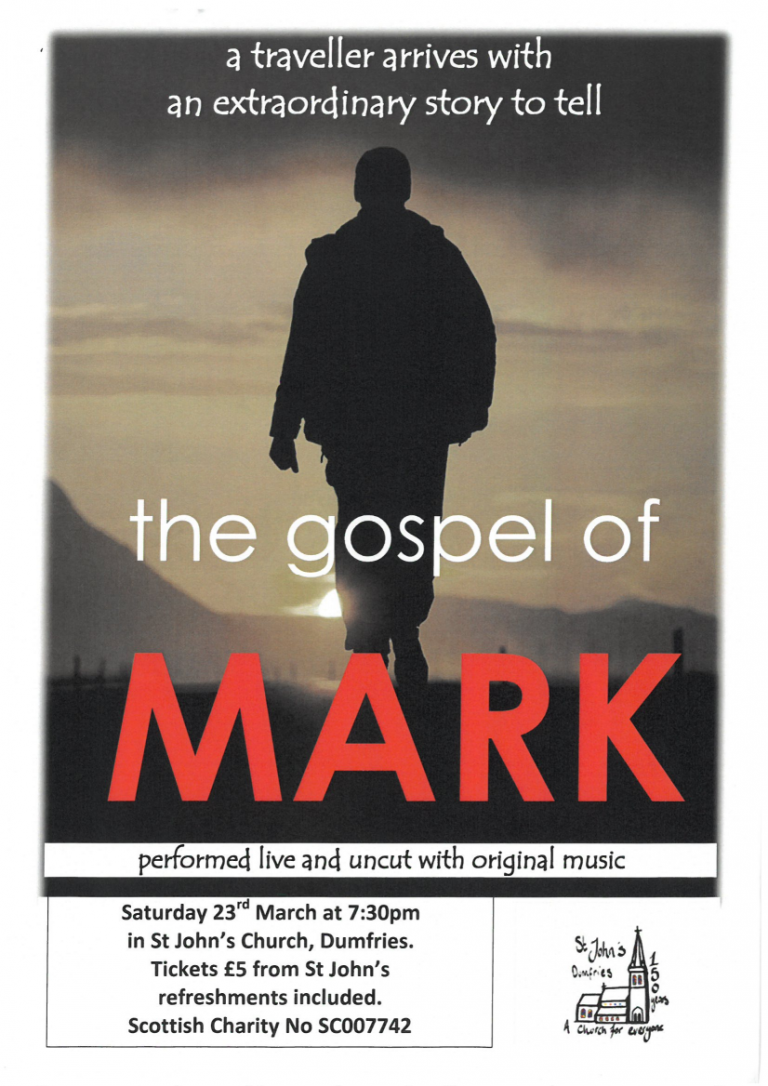 The Gospel of Mark, 23rd March, 7.30 pm.