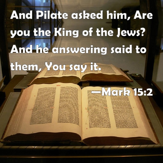 Mark 15:2 And Pilate asked him, Are you the King of the Jews? And ...