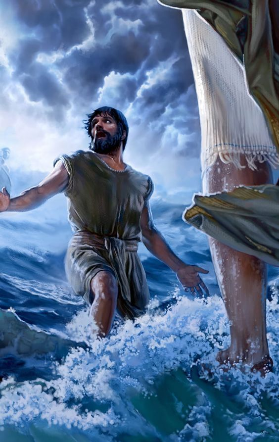 Peter, walking on water toward Jesus, gets distracted with fear ...