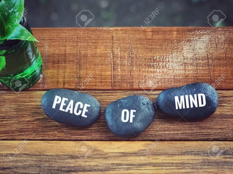 Inspirational Wording - Peace Of Mind Written On Pebbles. Blurred ...