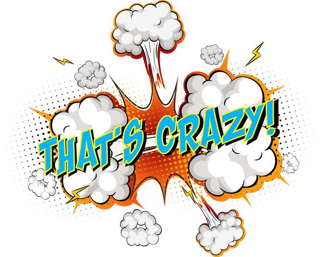 Free Vector | Word that's crazy on comic cloud explosion